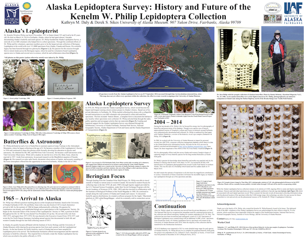 Poster - Alaska Lepidoptera Survey: History and Future of the Kenelm W. Philip Lepidoptera Collection